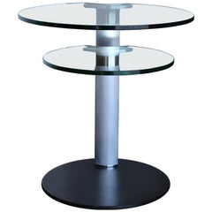Postmodern Stainless Steel and Glass Occasional Table, circa 1985
