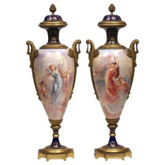 Beautiful Pair of French Bronze-Mounted Sèvres Porcelain Vases and Covers