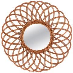 Handcrafted Vintage Rattan Flower Shaped Circular Mirror, Spain, 1960s