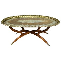 Vintage Indian Moroccan Style Oval Tray Top Spider 4-Leg Coffee Table