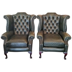 Pair of Leather Chesterfield Queen Ann Style Wing Back Armchairs