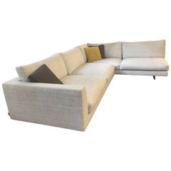 Axel XL Fabric Sectional Sofa with Walnut Table