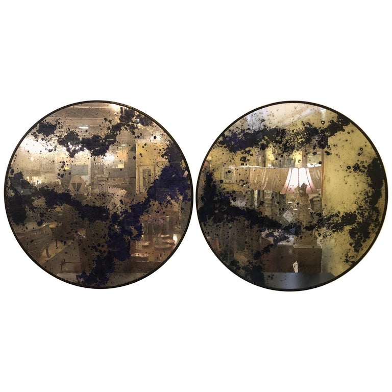 Monumental Art Deco Black & Silver Distressed Wall Console Mirrors or Table Tops For Sale