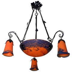 French Art Deco/Art Nouveau Forged Iron Chandelier or Pendant, by Jean Noverdy