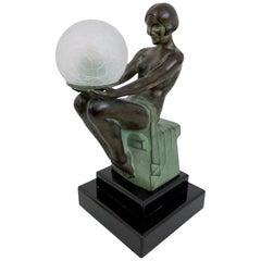 French Art Deco Sculpture, Delassement Lumineux, Lamp by Max Le Verrier