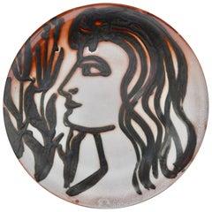Robert Picault Midcentury French Modern Ceramic Portrait Plate/Vallauris