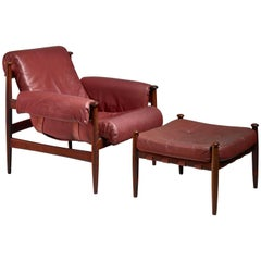 Eric Merthen Lounge Chair with Ottoman, Sweden, 1960s