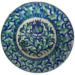 20th Century Spanish Hand Thrown Ribbed Blue-Green Glaze Studio Pottery Bowl