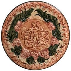 19th Century Spanish Terracotta Relief Dish with Cherubs & Flowers