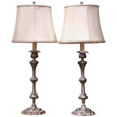 Pair of 19th Century French Silvered Copper Candlesticks Table Lamps