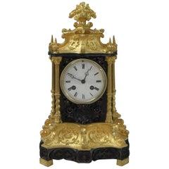 French 19th Century Gothic Revival Bronze Gilt Mantel Clock
