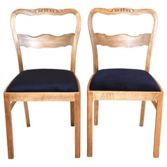Set of Two Blue Velvet Chairs from 1960s