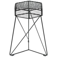 """Grid"" Contemporary Stool in Grid and Steel, Brazilian Design"