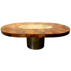 Paul Evans for Directional Brass and Wood Sunburst Dining Table