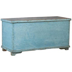 Antique Swedish Blue Painted Trunk