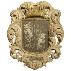 Carved and Painted Cartouche Plaque from Italy