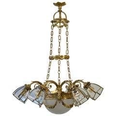 English Gilt Bronze Chandelier