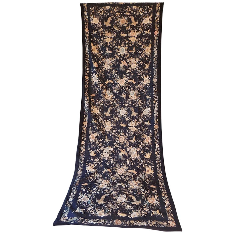 Monumental Black and Gold Chinese Embroidery Silk Altar Cloth or Wall Hanging