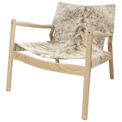 Contemporary Lounge Chair, Cerused White Oak, Grey Brown Hide & Polished Copper