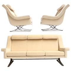 Superb 'Grand Prix' Lounge Set in Mohair by Sculptor Maurice Calka, Arflex, 1960
