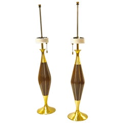Pair of Brass and Walnut Table Lamps by Tony Paul for Westwood Industries