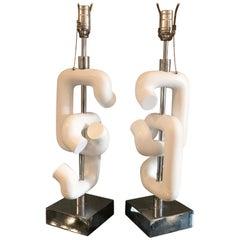 Pair of Robert Sonneman Broken Chain Link Table Lamps