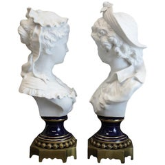 Charming Sevres France Blanc De Chine Busts on Bronze Base, Late 19th Century