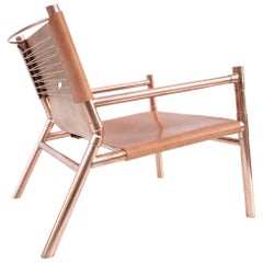 Contemporary Lounge Chair, English Bridle Leather and Polished Copper
