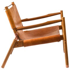 Contemporary Lounge Chair - Teak, Saddle Leather, Raw Copper and Leather Cord