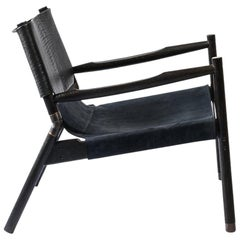 Contemporary Lounge Chair, Charred Oak, Bison and Navy Nubuck & Blackened Brass