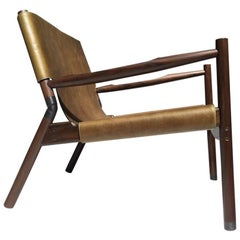 Contemporary Lounge Chair, Rosewood, Green Leather and Blackened Brass