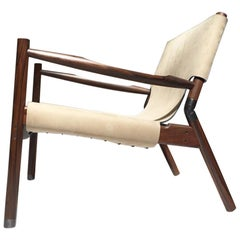 Contemporary Lounge Chair, Rosewood, Nubuck Leather and Blackened Brass
