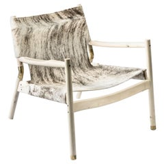 Contemporary Lounge Chair, Holly, Grey Brindle Hide and Burnished Brass