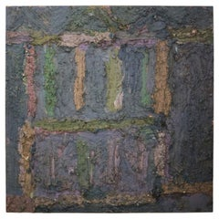 Jay Milder 'American 1934' Mixed-Media Abstract on Masonite Jacob's Ladder