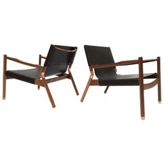 Contemporary Lounge Chair, Black Walnut, Matte Black Buffalo and Raw Copper