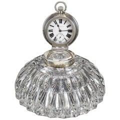 John Grinsell Sons Birmingham Sterling Silver Cut Glass Inkwell Desk Clock, 1903