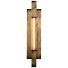 Shoji Sconce in Aged Brass with Exposed Bulb