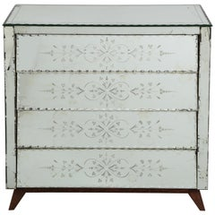 French Deco Mirrored Chest with Bevelled Decoration