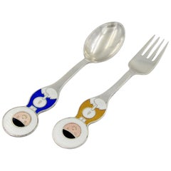Anton Michelsen Silver and Enamel 1969 Greenlander Christmas Fork and Spoon Set