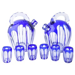 Blue Cut to Clear Art Glass Cordial Decanter Set with 2 Decanters and 6 Glasses