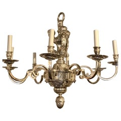 Regence Style Silver Plated Bronze 6-Light Chandelier, Attributed to EF Caldwell