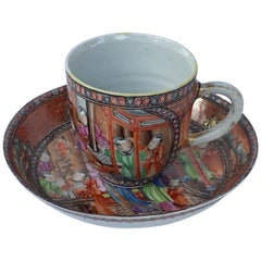 Chinese Export Mandarin Palate Cup and Saucer