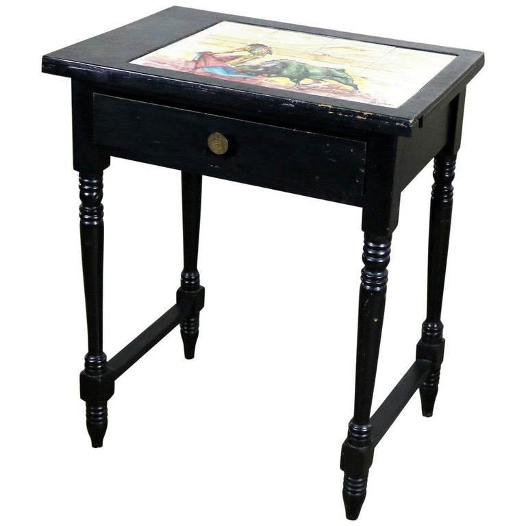 Vintage Black Turned Leg Drawered End Table with Matador & Bull Tile Insert Top For Sale