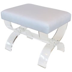 Custom Made Lucite X-form Upholstered Bench