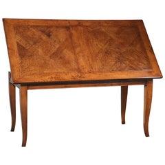 Antique Italian Walnut Parquetry 200yr Old Church Floor Extendable Table