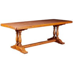 20th Century, French Oak Province Column Dining Table