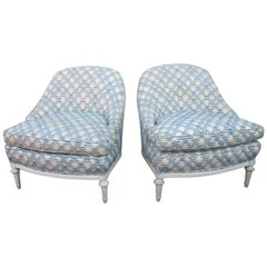 Pair of French Fauteuils or Slipper Chairs