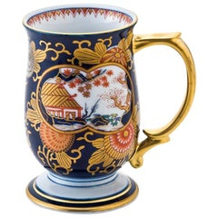 Japanese Contemporary Gilded Blue Red Ko-Imari Short Stem Porcelain Mug