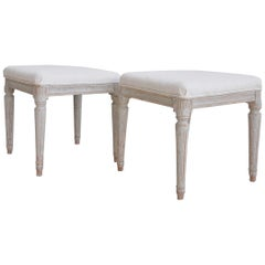19th Century Pair of Swedish Late Gustavian Stools