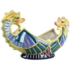 """Majolica Jardinière """"Seahorses"""" by Amphora, CZ, circa 1910"""